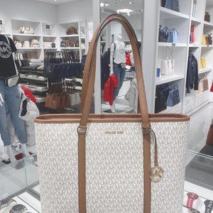 MICHAEL KORS SADY LG LEATHER TOTE BAG VANILLA